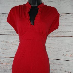 New Directions Red Tie Back Blouse Ruffled Collar
